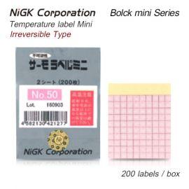 NiGK Block mini Series แถบวัดอุณหภูมิแบบ Irreversible single temp. | 50 to 125°C | 200pcs/ 1pack